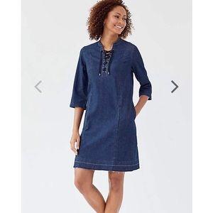 J Jill Denim Laced Front Dress A11